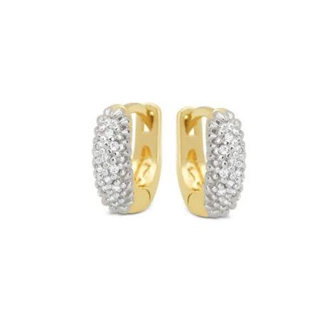 1690374 brinco argola mini com zirconias e aplique de rodio branco joia folheada a ouro dourado marca brilho folheados loja brilho folheados