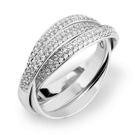 1910759 anel triplo solto cravejado com zirconias brancas e brilhantes joia folheada rodio branco marca sabrina loja brilho folheados