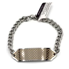 250270 pulseira masculina rommanel aco com placa trabalhada a laser elos grossos loja brilho folheados 1