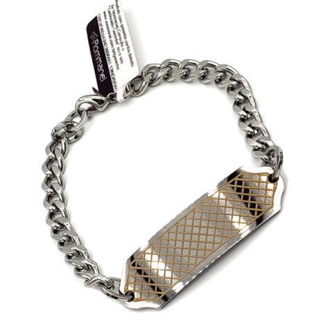 250270 pulseira masculina rommanel aco com placa trabalhada a laser elos grossos loja brilho folheados