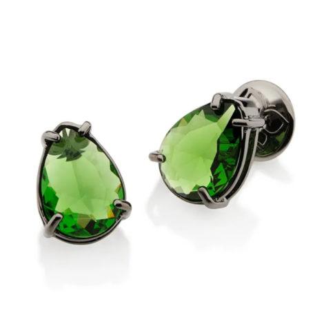 420020 brinco solitário com laterais vazada com 1 cristal gota verde peca folheada a rodio negro joia folheada a ouro joia rommanel colecao gratidao loja brilho folheados