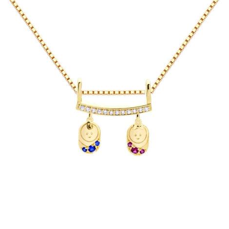 4e45 1800766 colar com pingente casal de filhos com corrente veneziana pingente cravejado com zirconias brancas azuis e rosa marca sabrina joias loja brilho folheados