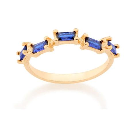 512729 anel folheado a ouro com zircônias retangulares azuis joia rommanel colecao gratidao loja brilho folheados