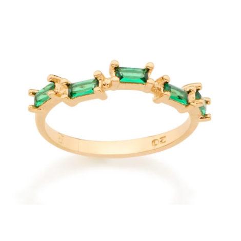 512729 anel folheado a ouro com zircônias retangulares verdes joia rommanel colecao gratidao loja brilho folheados