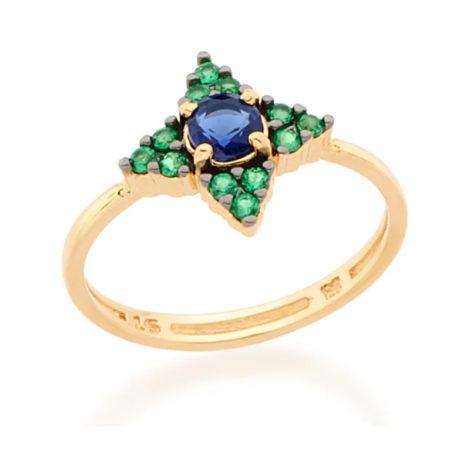 512762 anel flor com zirconia verde e azul e aplicação em ródio negro joia folheada a ouro joia rommanel colecao gratidao loja brilho folheados