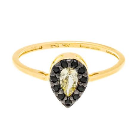 512765 anel skinny ring no formato de gota com zirconias pretas joia folheada a ouro joia rommanel colecao gratidao loja brilho folheados 1