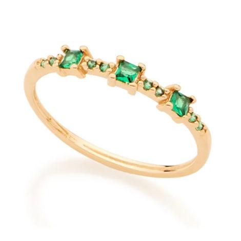 512767 anel fino com zircônias verdes quadradas joia folheada a ouro joia rommanel colecao gratidao loja brilho folheados