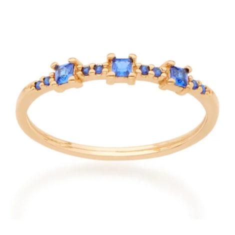 512768 anel fino com zircônias azuis quadradas joia folheada a ouro joia rommanel colecao gratidao loja brilho folheados