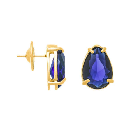 526289 Brinco no formato de gota com cristal azul joia folheada a ouro joia rommanel colecao gratidao loja brilho folheados 1