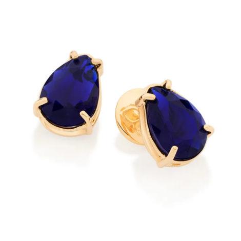 526289 Brinco no formato de gota com cristal azul joia folheada a ouro joia rommanel colecao gratidao loja brilho folheados