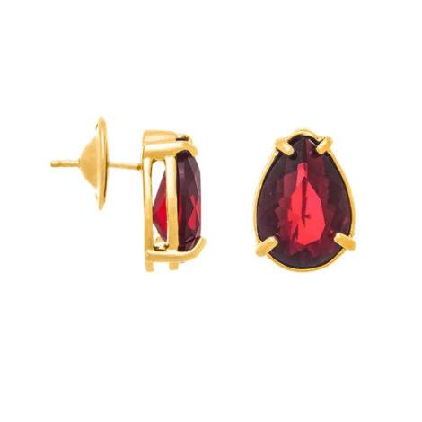 526289 Brinco no formato de gota com cristal vermelho joia folheada a ouro joia rommanel colecao gratidao loja brilho folheados 1