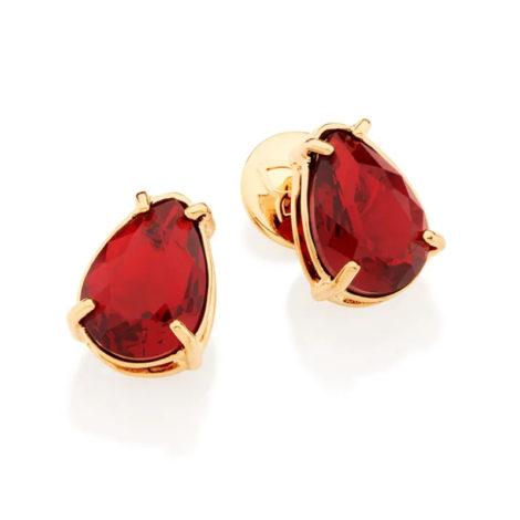 526289 Brinco no formato de gota com cristal vermelho joia folheada a ouro joia rommanel colecao gratidao loja brilho folheados