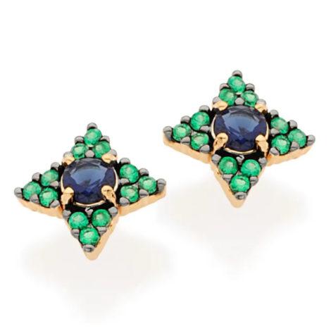 526328 Brinco no formato de flor com zirconia verde e azul com aplicacao rodio negro joia folheada a ouro joia rommanel colecao gratidao loja brilho folheados