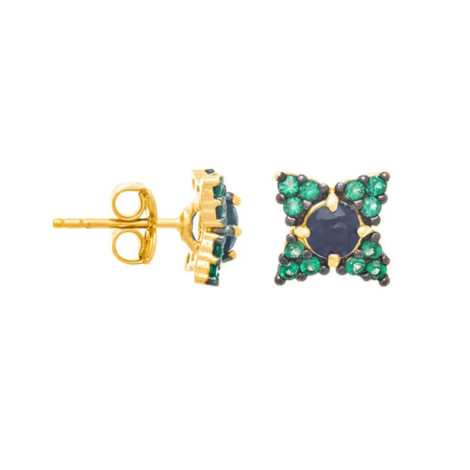 526328 Brinco no formato de flor com zirconia verde e azul com aplicacao rodio negrojoia folheada a ouro joia rommanel colecao gratidao loja brilho folheados 1