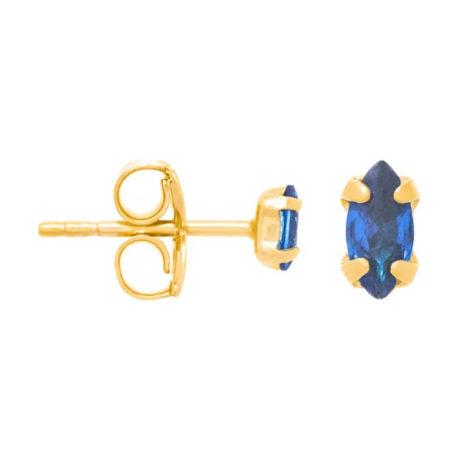 526333 brinco solitário composto por zircônia no formato de navete azul joia folheada a ouro joia rommanel colecao gratidao loja brilho folheados 1