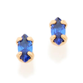 526333 brinco solitário composto por zircônia no formato de navete azul joia folheada a ouro joia rommanel colecao gratidao loja brilho folheados