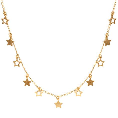 Maxi colar estrelas joia folheada ouro 18k brilho folheados