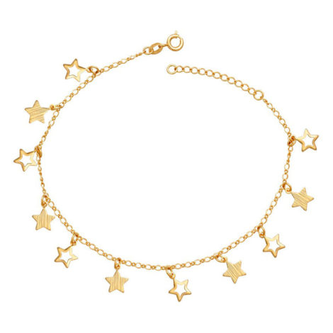 Tornozeleira 6 estrelas vazadas 5 estrelas lixadas joia folheada a ouro 18k marca brilho folheados