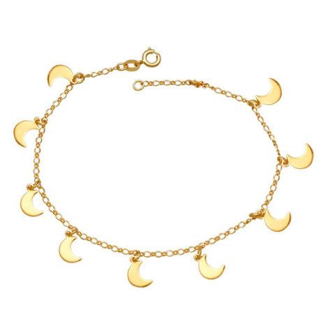 Tornozeleira feminina com 10 luas lisas tendo 26 cm de comprimento joia folheada ouro 18k brilho folheados