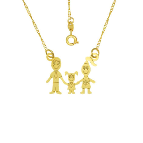 colar familia pai mae 1 filha menina joia folheada ouro 18k brilho folheados