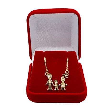 colar familia pai mae 1 filho menino joia folheada ouro 18k brilho folheados 1