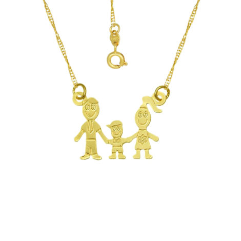 colar familia pai mae 1 filho menino joia folheada ouro 18k brilho folheados