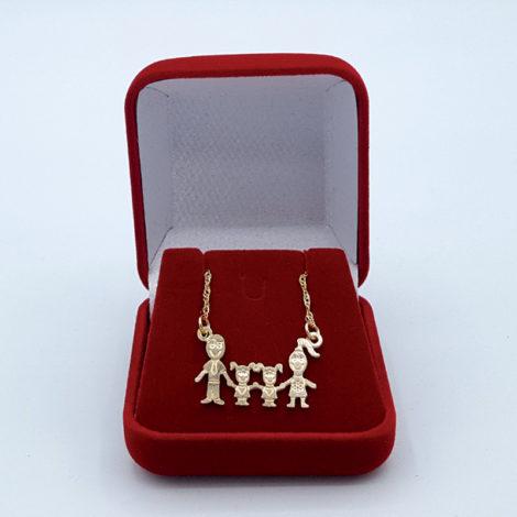 colar familia pai mae 2 filhas meninas joia folheada ouro 18k brilho folheados 1