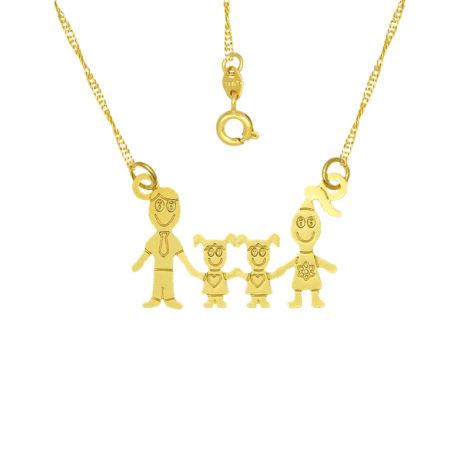 colar familia pai mae 2 filhas meninas joia folheada ouro 18k brilho folheados