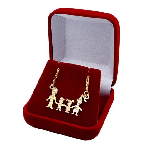 colar familia pai mae casal filhos menina e menino joia folheada ouro 18k brilho folheados 1