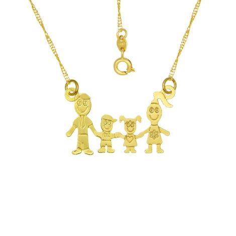 colar familia pai mae casal filhos menina e menino joia folheada ouro 18k brilho folheados
