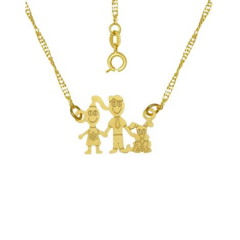 colar familia pai mae e cachorro joia folheada ouro 18k brilho folheados