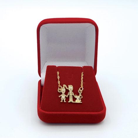 colar familia pai mae e gato joia folheada ouro 18k brilho folheados 1