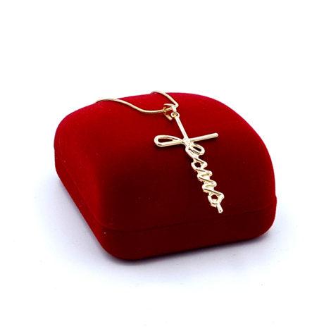 colar rabo de rato com pingente escrito jesus joia folheada ouro 18k brilho folheados 2