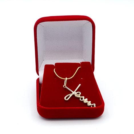 colar rabo de rato com pingente escrito jesus joia folheada ouro 18k brilho folheados 3
