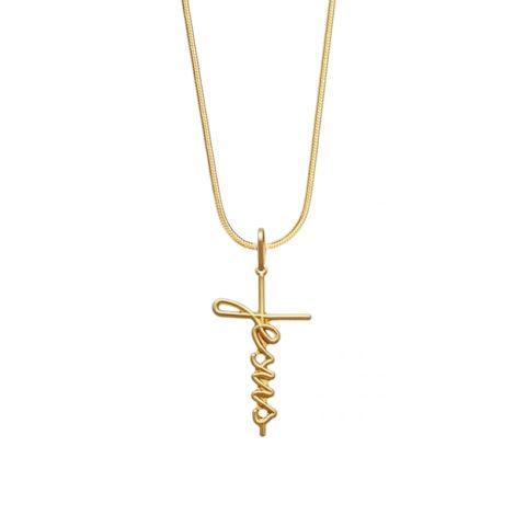 colar rabo de rato com pingente escrito jesus joia folheada ouro 18k brilho folheados