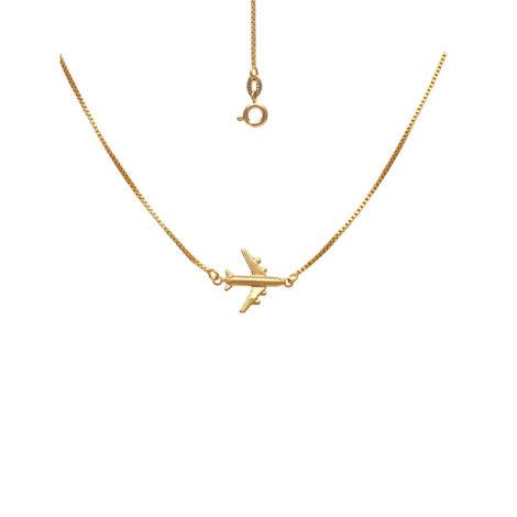 gargantilha com aviao joia folheada ouro 18k brilho folheados