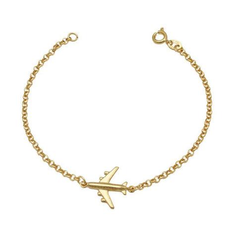 pulseira elo portugues com aviao 15mm joia folheada ouro 15k brilho folheados