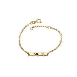 pulseira infantil malha portuguesa pingente placa com palavra paz e passaro branco marca brilho folheados