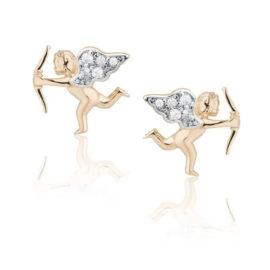 1690395 brinco no formato de anjo cupido cravejado com zirconias folheado a ouro 18k marca sabrina joias loja brilho folheados