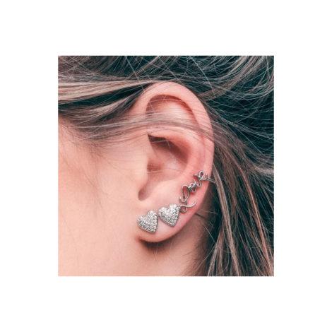 1690422 par de brinco coracao sendo o lado esquerdo earcuff com coracao e palavra love joia antialergica sabrina joias loja brilho folheados modelo
