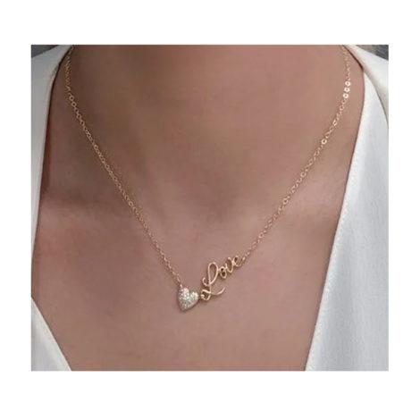 1900489 gargantilha com coracao cravejado com zirconias e palavra love corrente de elos fecho contem pontinho de luz joia sabrina loja brilho folheados modelo 1