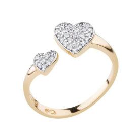 1911022 anel amor sem fim aro aberto com coracao cravejado em cada ponta joia folheada ouro 18k marca sabrina joias loja brilho folheados