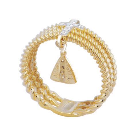 AB1660 anel aro triplo bolinhas com cruz em zirconias e mini pingente de nossa senhora aparecida marca bruna semijoias loja brilho folheados