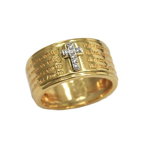 AB1814 anel aro largo com oracao completa do pai nosso e cruz cravejada com zirconias brilhantes marca bruna semijoias loja brilho folheados