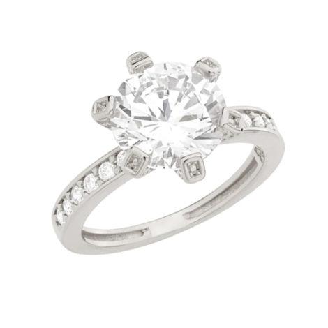 110683 anel com solitario grande no centro com12 micro zirconias na lateral joia folheada rodio prateada marca rommanel loja brilho folheados