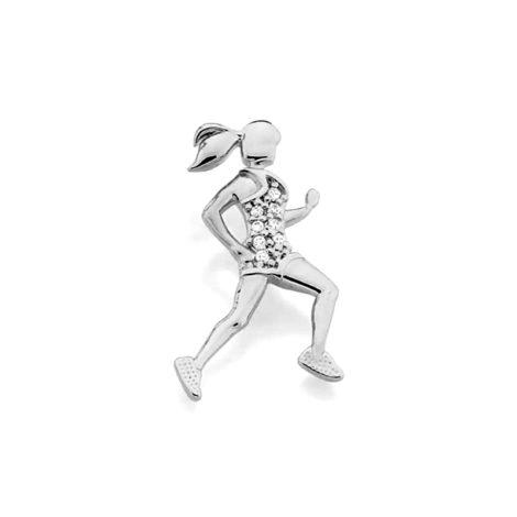 140712 Pingente no formato de mulher praticando corrida com zircônias joia folheada rodio marca rommanel loja brilho folheados