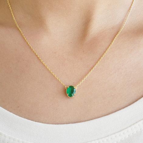 1900360 colar 2 lados lado crista oval verde super delicado joia folheado ouro brilho folheados 1