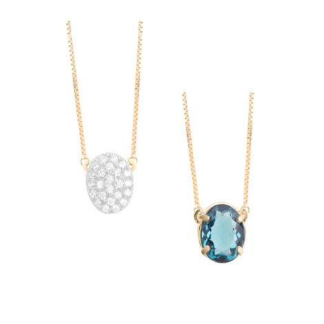 1900360 gargantilha 2 faces zirconias brilhantes cristal azul london folheado ouro marca sabrina joias loja revendedora brilho folheados