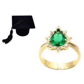 1910414 anel de formatura verde com zirconias brancas joia folheada ouro antialergica com caixa capelo loja brilho folheados 1