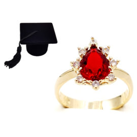 1910414 anel de formatura vermelho com zirconias brancas joia folheada ouro antialergica com caixa capelo loja brilho folheados 6